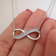 925 Sterling Silver CZ Infinity Sign Necklace