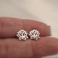 Sterling Silver Lotus Flower Post Earrings