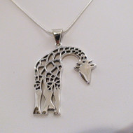Large Sterling Silver Giraffe Pendant Necklace