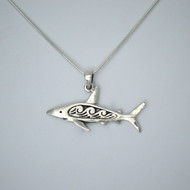 925 Sterling Silver Large Shark Necklace