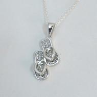 Sterling Silver CZ Flip Flop Necklace