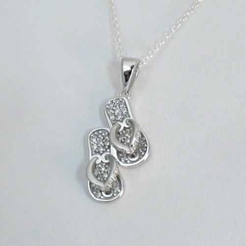 sterling silver cz flip flop pendant necklace. Black Bedroom Furniture Sets. Home Design Ideas