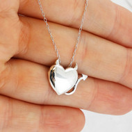 Sterling Silver Devil Heart Pendant Necklace