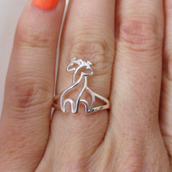Sterling Silver Two Giraffes Ring