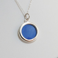 Sterling Silver Circle Double Sided Photo Charm Necklace