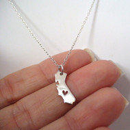 Sterling Silver Heart of California Charm Necklace