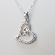 Sterling Silver Trinity Knot Celtic Heart Necklace
