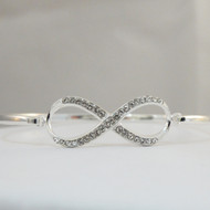 Sterling Silver Infinity Sign Bangle Bracelet