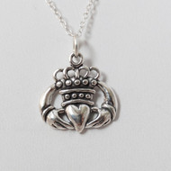 Sterling Silver Claddagh Heart Charm Necklace