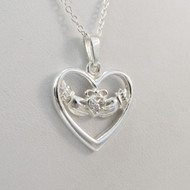 Sterling Silver Claddagh Celtic Heart Necklace