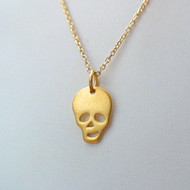 Gold Vermeil Sterling Silver Skull Necklace