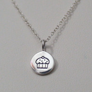 Sterling Silver Cupcake Charm Necklace
