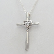 Sterling Silver Heart in Cross Necklace