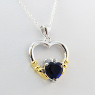 Sterling Silver 925 Claddagh Heart Necklace