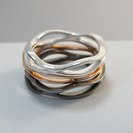 Sterling Silver Tri Tone Stacking Rings Set of 3