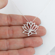 Lotus Flower Necklace - Sterling Silver