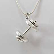 Large Sterling Silver Dumbbell Necklace