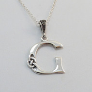 Sterling Silver Celtic Knot Initial Letter G Necklace