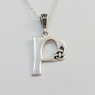 Sterling Silver Celtic Knot Initial P Letter Necklace
