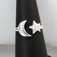 Sterling Silver Crescent Moon and Star Ring