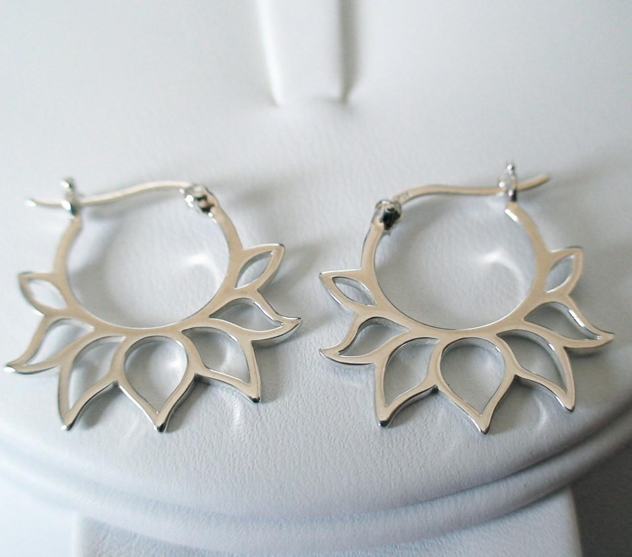 lotus flower hoop earrings sterling silver