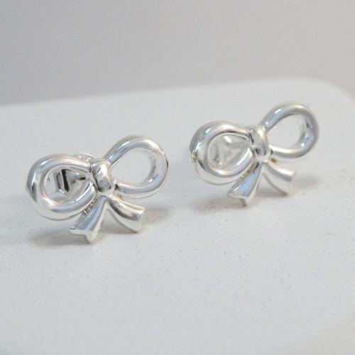 925 sterling silver bow stud earrings