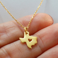 24K Gold Plated Sterling Silver Heart of Texas State Necklace