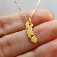 24K Gold Plated Sterling Silver Heart of California Necklace
