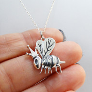925 Sterling Silver Queen Bee Necklace