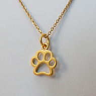 Gold Sterling Silver Paw Print Necklace