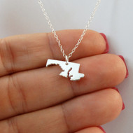 Sterling Silver Maryland State Charm Necklace