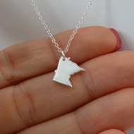 Sterling Silver Minnesota State Charm Necklace