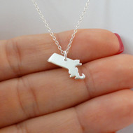 Sterling Silver Massachusetts State Charm Necklace