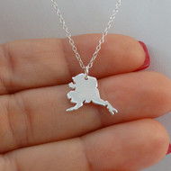 925 Sterling Silver Alaska State Charm Necklace