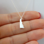 925 Sterling Silver Delaware State Charm Necklace