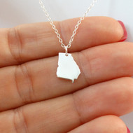 925 Sterling Silver Georgia State Charm Necklace