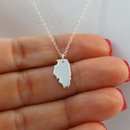 925 Sterling Silver Illinois State Charm Necklace