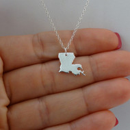 925 Sterling Silver Louisiana State Charm Necklace