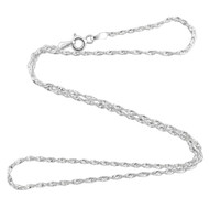 Sterling Silver Serpentine/Singapore 1.5mm Chain Necklace