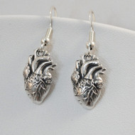 925 Sterling Silver Anatomical Heart Earrings