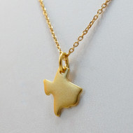 24k Gold Plated Sterling Silver Texas State Charm Necklace