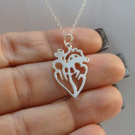 925 Sterling Silver Anatomical Heart Charm Necklace