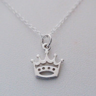 Petite Princess Crown Sterling Silver Charm Necklace