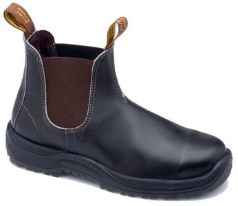 Blundstone 172 stout brown elistic side Steel Cap boot - v cut