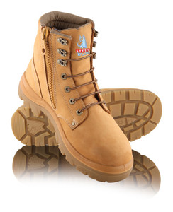 Steel Blue ARGYLE Zip 150mm High Lace Up with Zip, Steel Cap Boot Wheat