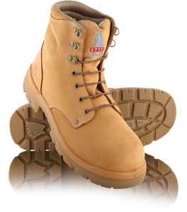 Steel Blue ARGYLE 145mm High Lace Up Steel Cap Ankle Boot Wheat
