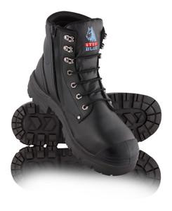 Steel Blue ARGYLE Zip Nitrile With Bump Cap, Steel Cap Boot Black