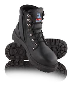 Steel Blue ARGYLE Zip Nitrile Outsole, Steel Cap Boot Black
