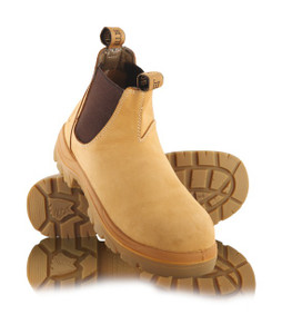 Steel Blue HOBART Elastic Side Non Safety Work Boots, Wheat Nubuk