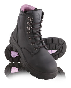 Steel Blue ARGYLE Ladies Lace Up Steel Cap Boots Black
